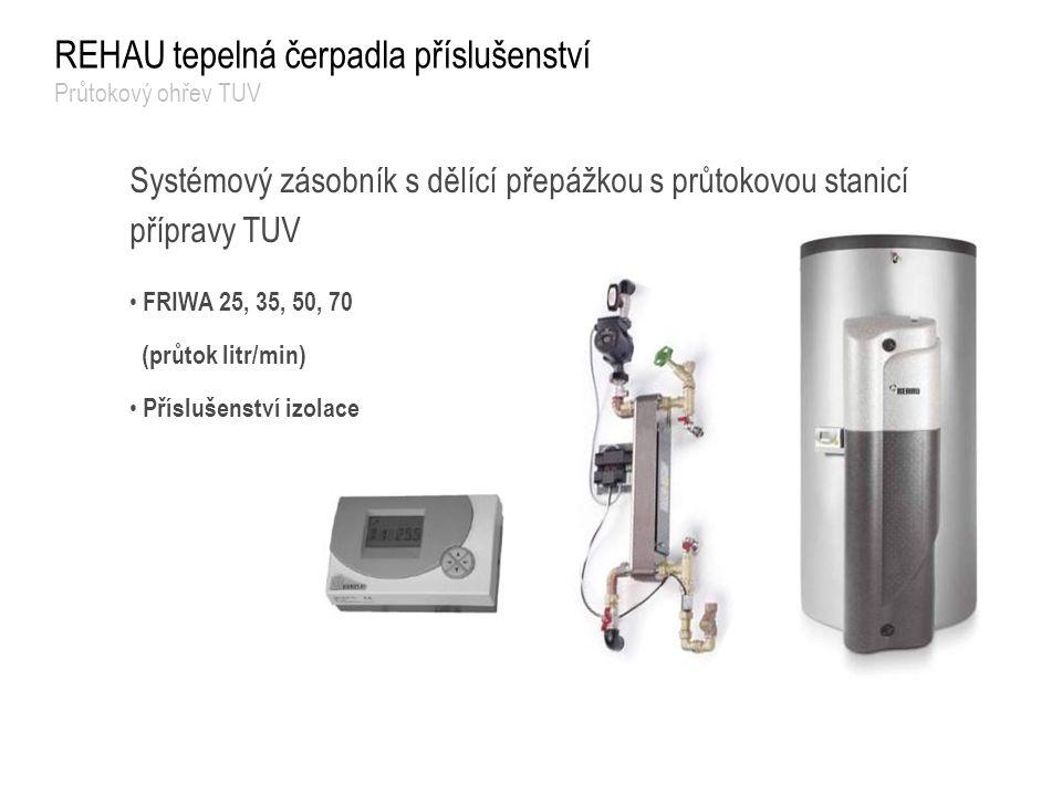 REHAU tepelná čerpadla příslušenství Průtokový ohřev TUV Systémový zásobník s dělící přepážkou s průtokovou stanicí přípravy TUV FRIWA 25, 35, 50, 70