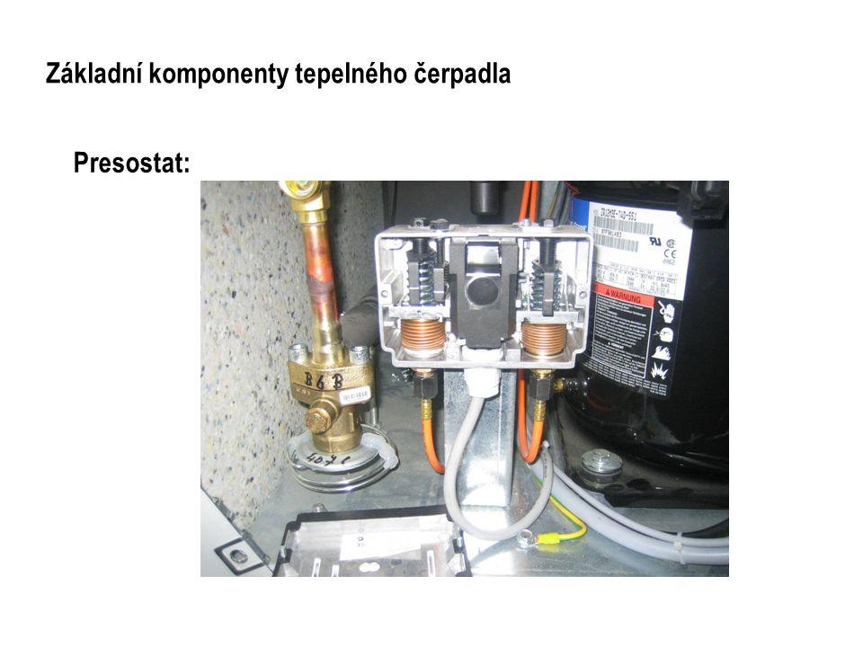 Základní komponenty tepelného čerpadla Expanzní ventil Termostatický prvek Letovací koncovka Vyměnitelná tryska Kapilára Čidlo Nastavení expanze Zasunovací koncovka