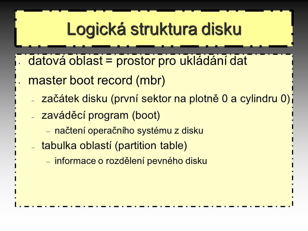 Logická struktura disku datová oblast = prostor pro ukládání dat master boot record (mbr) – začátek disku (první sektor na plotně 0 a cylindru 0) – zaváděcí program (boot)  načtení operačního systému z disku  tabulka oblastí (partition table)  informace o rozdělení pevného disku