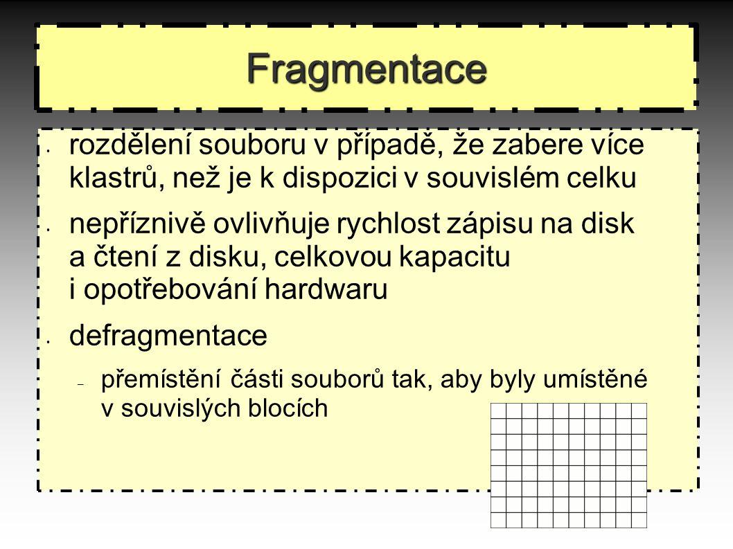 Fragmentace rozdělení souboru v případě, že zabere více klastrů, než je k dispozici v souvislém celku nepříznivě ovlivňuje rychlost zápisu na disk a čtení z disku, celkovou kapacitu i opotřebování hardwaru defragmentace – přemístění části souborů tak, aby byly umístěné v souvislých blocích