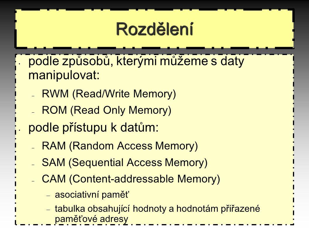 Rozdělení podle způsobů, kterými můžeme s daty manipulovat: – RWM (Read/Write Memory) – ROM (Read Only Memory) podle přístupu k datům: – RAM (Random Access Memory) – SAM (Sequential Access Memory) – CAM (Content-addressable Memory)  asociativní paměť  tabulka obsahující hodnoty a hodnotám přiřazené paměťové adresy