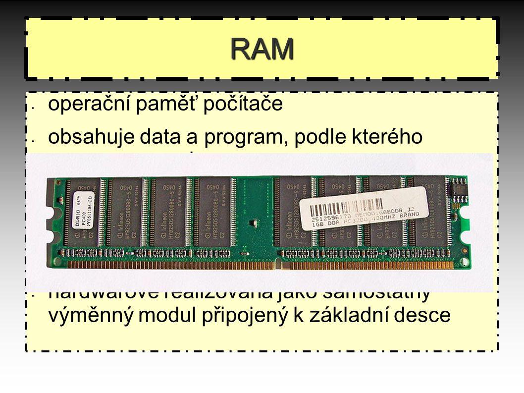 RAM operační paměť počítače obsahuje data a program, podle kterého procesor pracuje krátká doba přístupu vysoká přenosová rychlost obsah se po vypnutí počítače vymaže hardwarově realizována jako samostatný výměnný modul připojený k základní desce