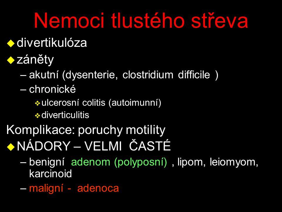 Nemoci tlustého střeva u divertikulóza u záněty –akutní (dysenterie, clostridium difficile ) –chronické v ulcerosní colitis (autoimunní) v diverticuli