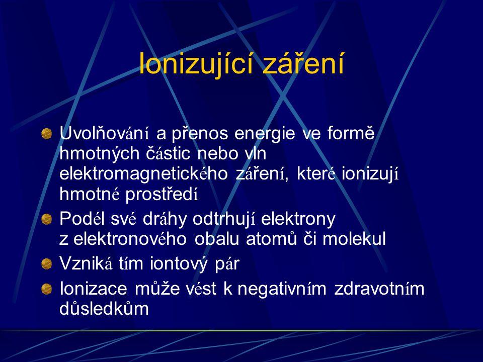 Ionizující záření Uvolňov á n í a přenos energie ve formě hmotných č á stic nebo vln elektromagnetick é ho z á řen í, kter é ionizuj í hmotn é prostře