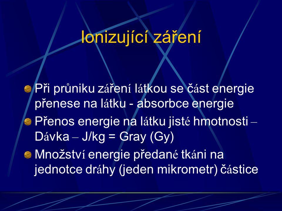 Ionizující záření Při průniku z á řen í l á tkou se č á st energie přenese na l á tku - absorbce energie Přenos energie na l á tku jist é hmotnosti – D á vka – J/kg = Gray (Gy) Množstv í energie předan é tk á ni na jednotce dr á hy (jeden mikrometr) č á stice