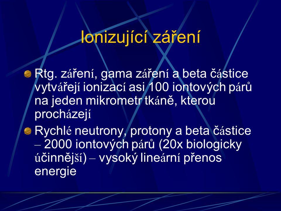 Ionizující záření Rtg. z á řen í, gama z á řen í a beta č á stice vytv á řej í ionizac í asi 100 iontových p á rů na jeden mikrometr tk á ně, kterou p