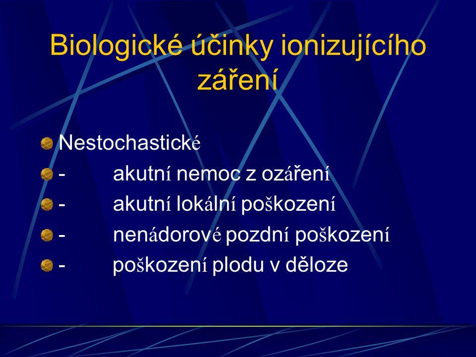 Biologické účinky ionizujícího záření Nestochastick é - akutn í nemoc z oz á řen í - akutn í lok á ln í po š kozen í - nen á dorov é pozdn í po š kozen í - po š kozen í plodu v děloze