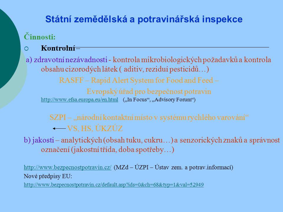 """Státní zemědělská a potravinářská inspekce Činnosti:  Kontrolní – a) zdravotní nezávadnosti - kontrola mikrobiologických požadavků a kontrola obsahu cizorodých látek ( aditiv, reziduí pesticidů…) RASFF – Rapid Alert System for Food and Feed – Evropský úřad pro bezpečnost potravin http://www.efsa.europa.eu/en.html (""""In Focus , """"Advisory Forum ) http://www.efsa.europa.eu/en.html SZPI – """"národní kontaktní místo v systému rychlého varování VS, HS, ÚKZÚZ b) jakosti – analytických (obsah tuku, cukru…) a senzorických znaků a správnost označení (jakostní třída, doba spotřeby…) http://www.bezpecnostpotravin.cz/http://www.bezpecnostpotravin.cz/ (MZd – ÚZPI – Ústav zem."""