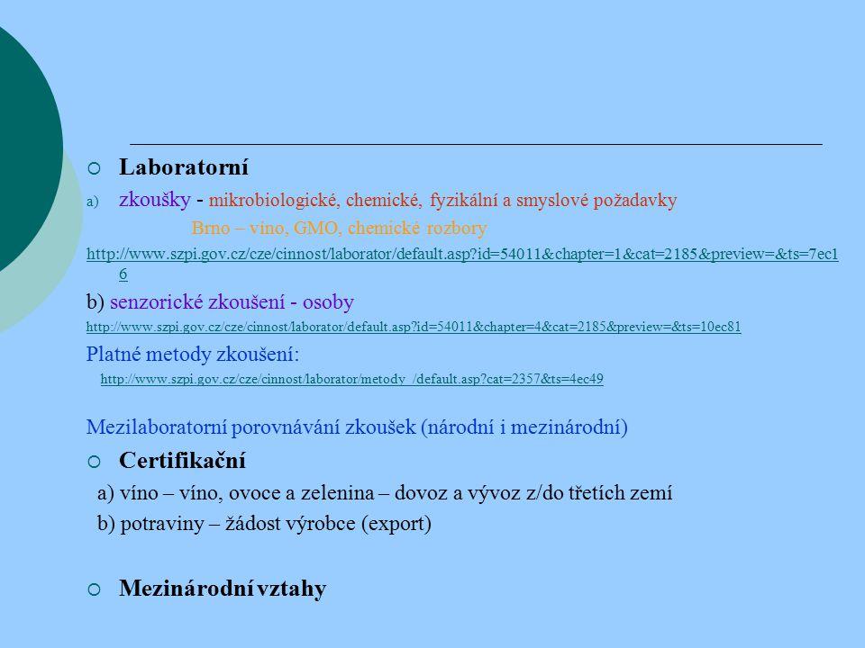  Laboratorní a) zkoušky - mikrobiologické, chemické, fyzikální a smyslové požadavky Brno – víno, GMO, chemické rozbory http://www.szpi.gov.cz/cze/cinnost/laborator/default.asp id=54011&chapter=1&cat=2185&preview=&ts=7ec1 6 b) senzorické zkoušení - osoby http://www.szpi.gov.cz/cze/cinnost/laborator/default.asp id=54011&chapter=4&cat=2185&preview=&ts=10ec81 Platné metody zkoušení: http://www.szpi.gov.cz/cze/cinnost/laborator/metody_/default.asp cat=2357&ts=4ec49 Mezilaboratorní porovnávání zkoušek (národní i mezinárodní)  Certifikační a) víno – víno, ovoce a zelenina – dovoz a vývoz z/do třetích zemí b) potraviny – žádost výrobce (export)  Mezinárodní vztahy