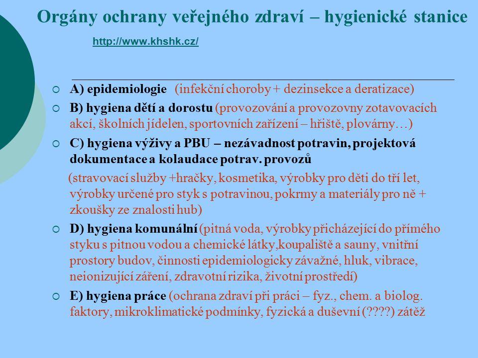 Orgány ochrany veřejného zdraví – hygienické stanice http://www.khshk.cz/ http://www.khshk.cz/  A) epidemiologie (infekční choroby + dezinsekce a deratizace)  B) hygiena dětí a dorostu (provozování a provozovny zotavovacích akcí, školních jídelen, sportovních zařízení – hřiště, plovárny…)  C) hygiena výživy a PBU – nezávadnost potravin, projektová dokumentace a kolaudace potrav.