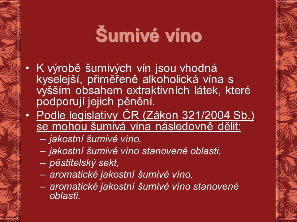 Šumivé víno K výrobě šumivých vín jsou vhodná kyselejší, přiměřeně alkoholická vína s vyšším obsahem extraktivních látek, které podporují jejich pěněn