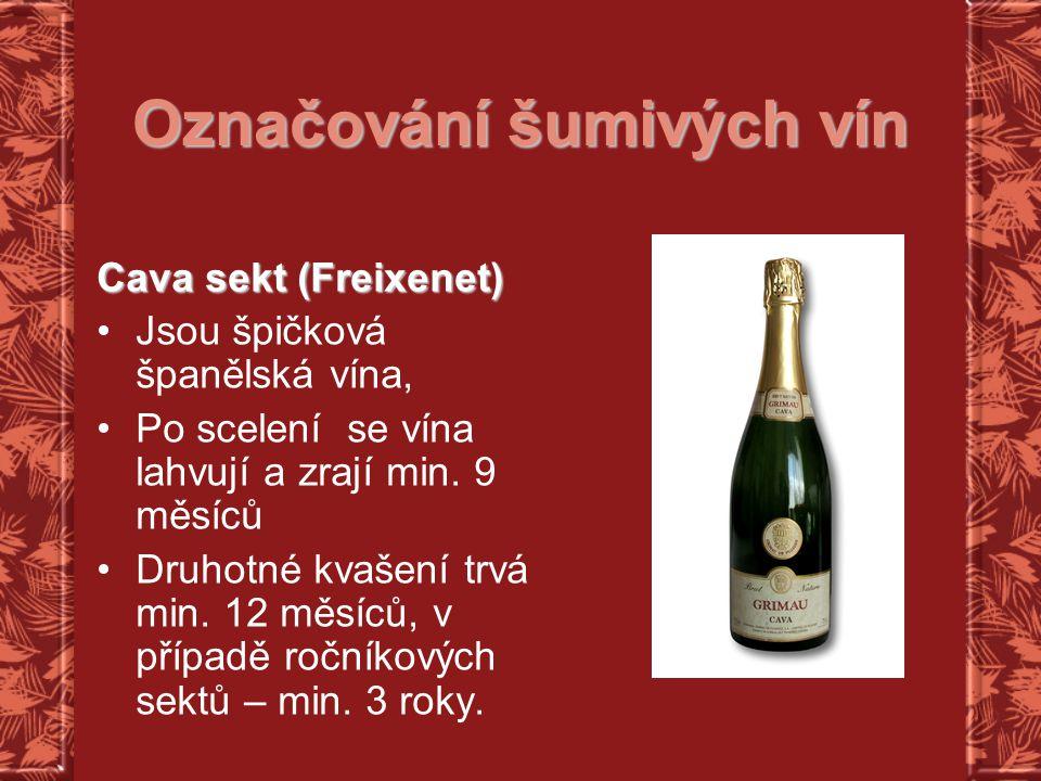 Označování šumivých vín Cava sekt (Freixenet) Jsou špičková španělská vína, Po scelení se vína lahvují a zrají min. 9 měsíců Druhotné kvašení trvá min