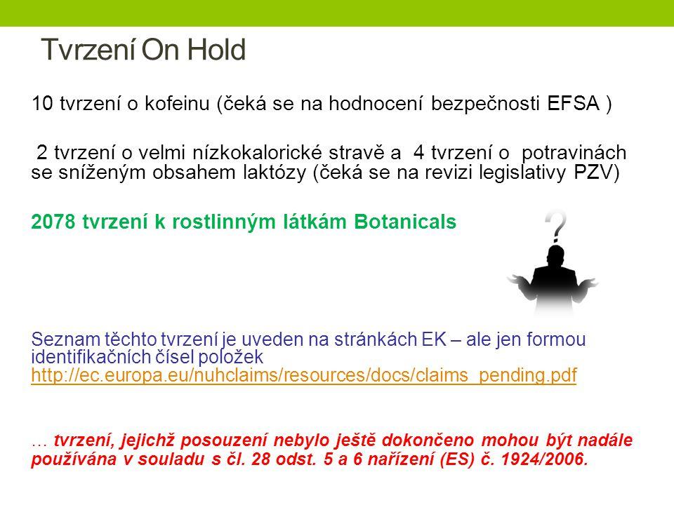 Tvrzení On Hold 10 tvrzení o kofeinu (čeká se na hodnocení bezpečnosti EFSA ) 2 tvrzení o velmi nízkokalorické stravě a 4 tvrzení o potravinách se sníženým obsahem laktózy (čeká se na revizi legislativy PZV) 2078 tvrzení k rostlinným látkám Botanicals Seznam těchto tvrzení je uveden na stránkách EK – ale jen formou identifikačních čísel položek http://ec.europa.eu/nuhclaims/resources/docs/claims_pending.pdf http://ec.europa.eu/nuhclaims/resources/docs/claims_pending.pdf … tvrzení, jejichž posouzení nebylo ještě dokončeno mohou být nadále používána v souladu s čl.