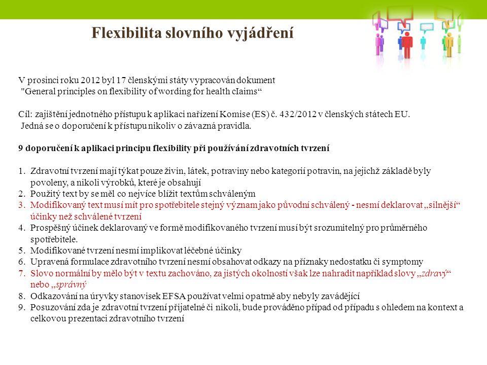 Flexibilita slovního vyjádření V prosinci roku 2012 byl 17 členskými státy vypracován dokument General principles on flexibility of wording for health cIaims Cíl: zajištění jednotného přístupu k aplikaci nařízení Komise (ES) č.