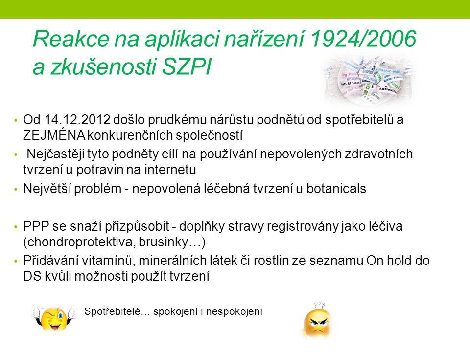 Reakce na aplikaci nařízení 1924/2006 a zkušenosti SZPI Od 14.12.2012 došlo prudkému nárůstu podnětů od spotřebitelů a ZEJMÉNA konkurenčních společností Nejčastěji tyto podněty cílí na používání nepovolených zdravotních tvrzení u potravin na internetu Největší problém - nepovolená léčebná tvrzení u botanicals PPP se snaží přizpůsobit - doplňky stravy registrovány jako léčiva (chondroprotektiva, brusinky…) Přidávání vitamínů, minerálních látek či rostlin ze seznamu On hold do DS kvůli možnosti použít tvrzení Spotřebitelé… spokojení i nespokojení