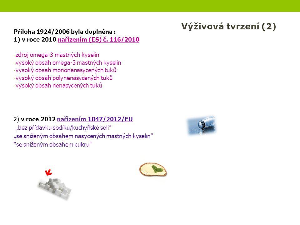 Příloha 1924/2006 byla doplněna : 1) v roce 2010 nařízením (ES) č. 116/2010 - zdroj omega-3 mastných kyselin - vysoký obsah omega-3 mastných kyselin -
