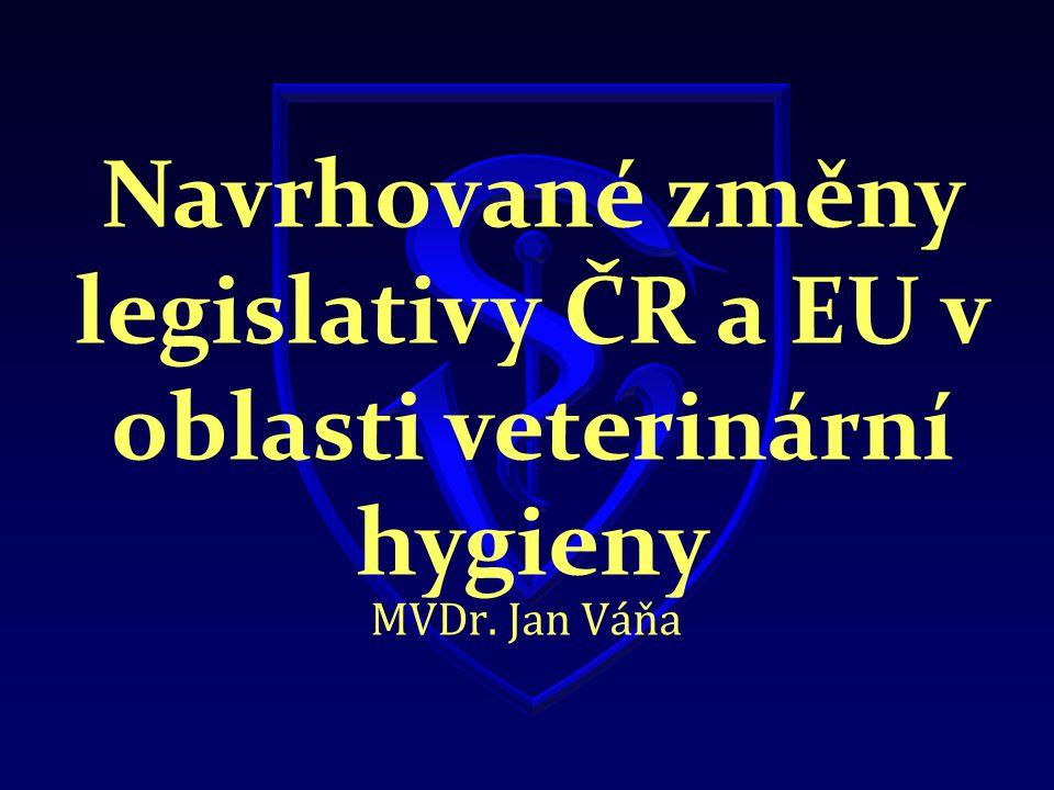 Navrhované změny legislativy ČR a EU v oblasti veterinární hygieny MVDr. Jan Váňa