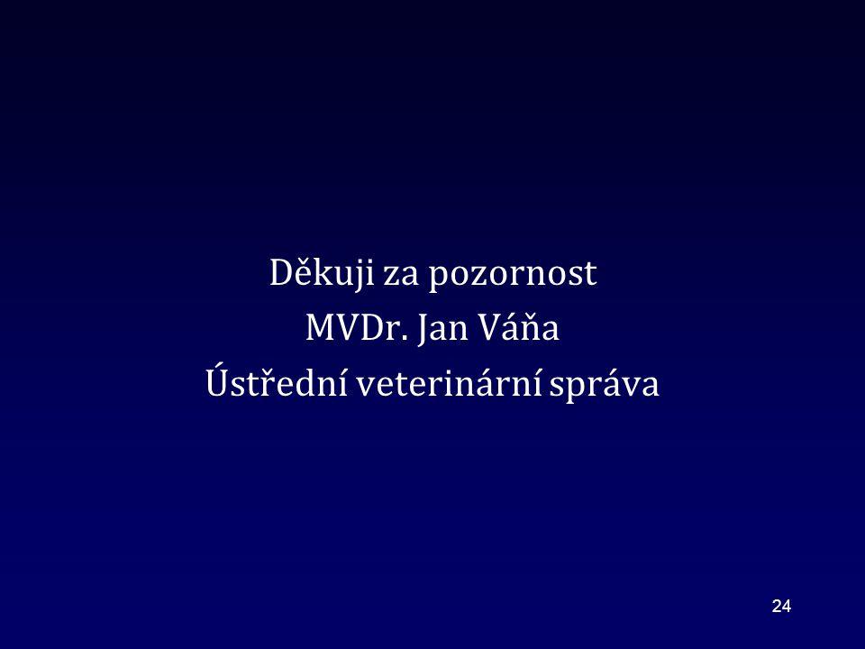 Děkuji za pozornost MVDr. Jan Váňa Ústřední veterinární správa 24