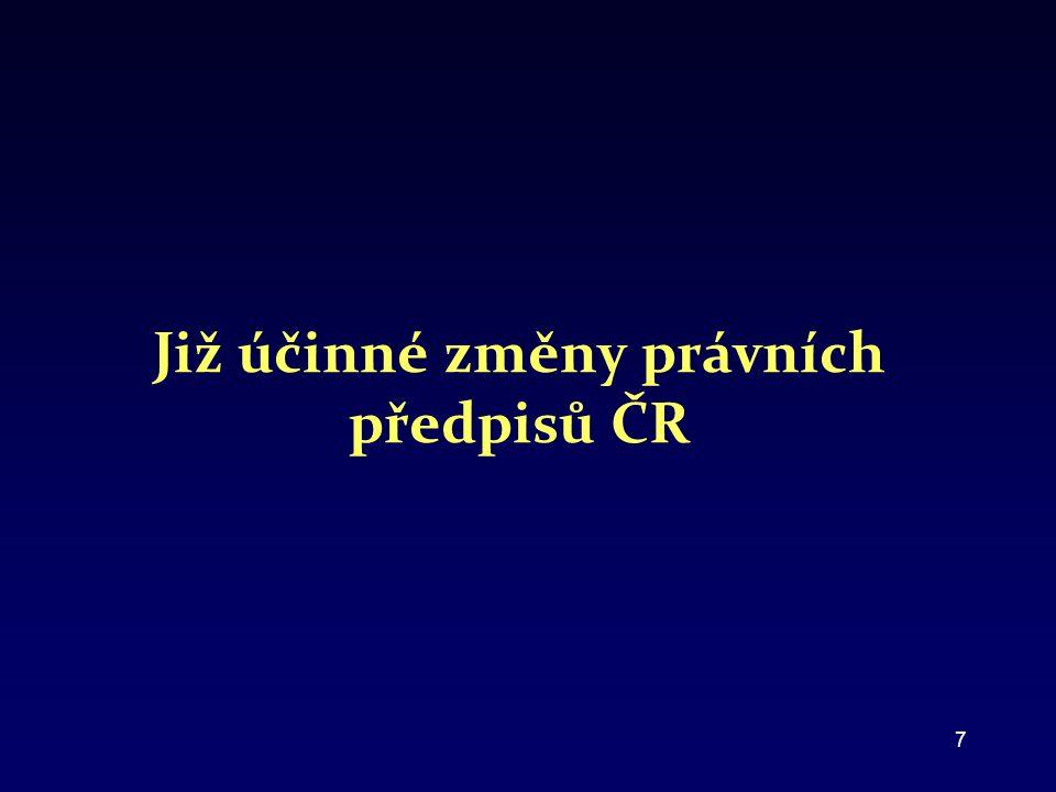 Již účinné změny právních předpisů ČR 7