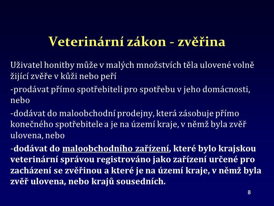 Veterinární zákon - zvěřina Uživatel honitby může v malých množstvích těla ulovené volně žijící zvěře v kůži nebo peří -prodávat přímo spotřebiteli pro spotřebu v jeho domácnosti, nebo -dodávat do maloobchodní prodejny, která zásobuje přímo konečného spotřebitele a je na území kraje, v němž byla zvěř ulovena, nebo -dodávat do maloobchodního zařízení, které bylo krajskou veterinární správou registrováno jako zařízení určené pro zacházení se zvěřinou a které je na území kraje, v němž byla zvěř ulovena, nebo krajů sousedních.