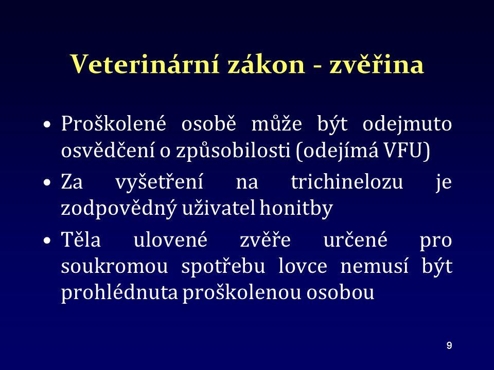 Veterinární zákon - zvěřina Proškolené osobě může být odejmuto osvědčení o způsobilosti (odejímá VFU) Za vyšetření na trichinelozu je zodpovědný uživatel honitby Těla ulovené zvěře určené pro soukromou spotřebu lovce nemusí být prohlédnuta proškolenou osobou 9
