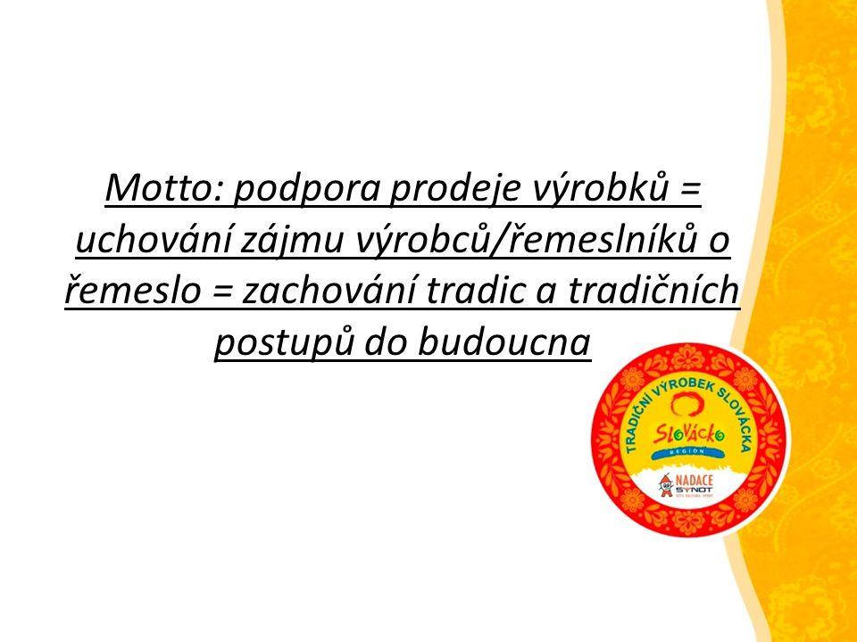 Motto: podpora prodeje výrobků = uchování zájmu výrobců/řemeslníků o řemeslo = zachování tradic a tradičních postupů do budoucna