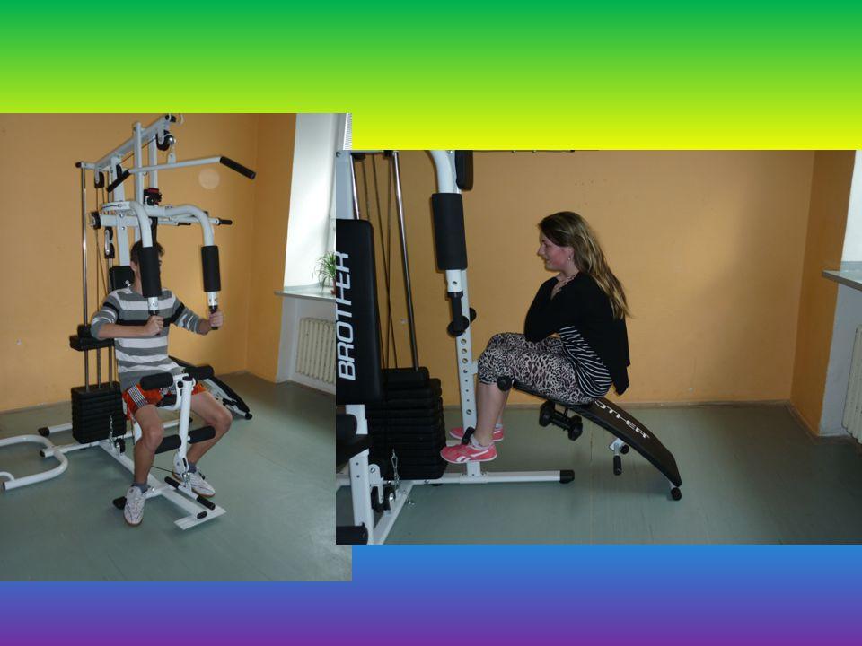 Univerzální posilovací stroj Na tomto stroji je možné posilovat břišní svaly, záda, prsní svalstvo, biceps, triceps, stehenní a lýtkové svaly