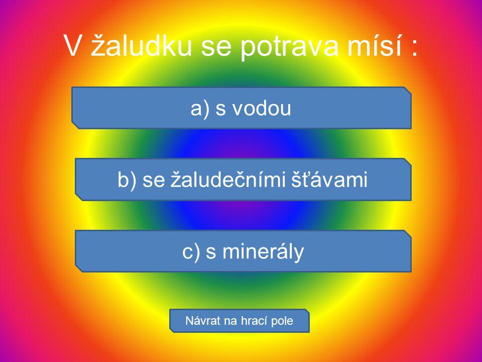 V žaludku se potrava mísí : a) s vodou b) se žaludečními šťávami c) s minerály Návrat na hrací pole
