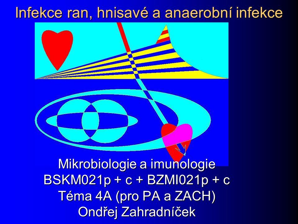 Infekce ran, hnisavé a anaerobní infekce Mikrobiologie a imunologie BSKM021p + c + BZMI021p + c Téma 4A (pro PA a ZACH) Ondřej Zahradníček