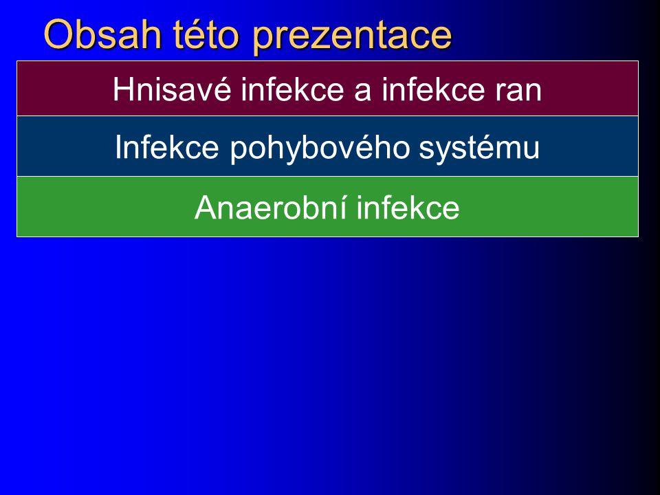 Obsah této prezentace Hnisavé infekce a infekce ran Infekce pohybového systému Anaerobní infekce
