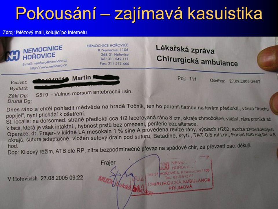 Pokousání – zajímavá kasuistika Zdroj: řetězový mail, kolující po internetu