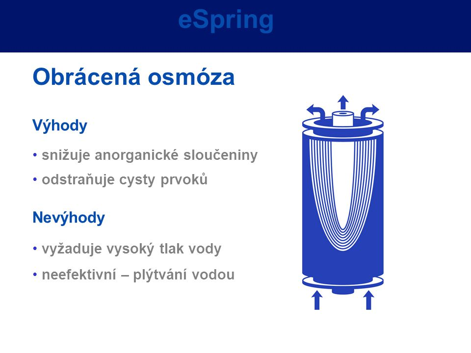 Advantages Výhody snižuje anorganické sloučeniny odstraňuje cysty prvoků Nevýhody vyžaduje vysoký tlak vody neefektivní – plýtvání vodou eSpring Obrác