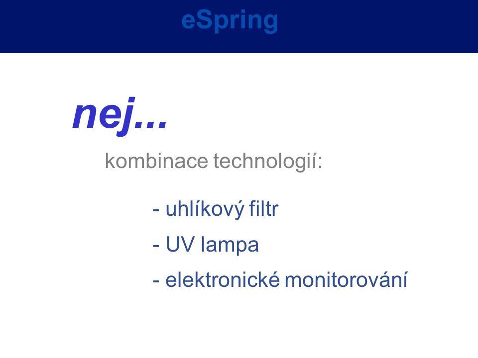 eSpring nej... kombinace technologií: - uhlíkový filtr - UV lampa - elektronické monitorování