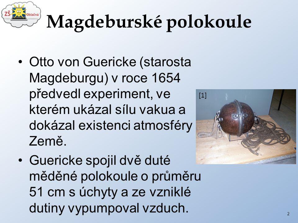 Magdeburské polokoule Otto von Guericke (starosta Magdeburgu) v roce 1654 předvedl experiment, ve kterém ukázal sílu vakua a dokázal existenci atmosfé