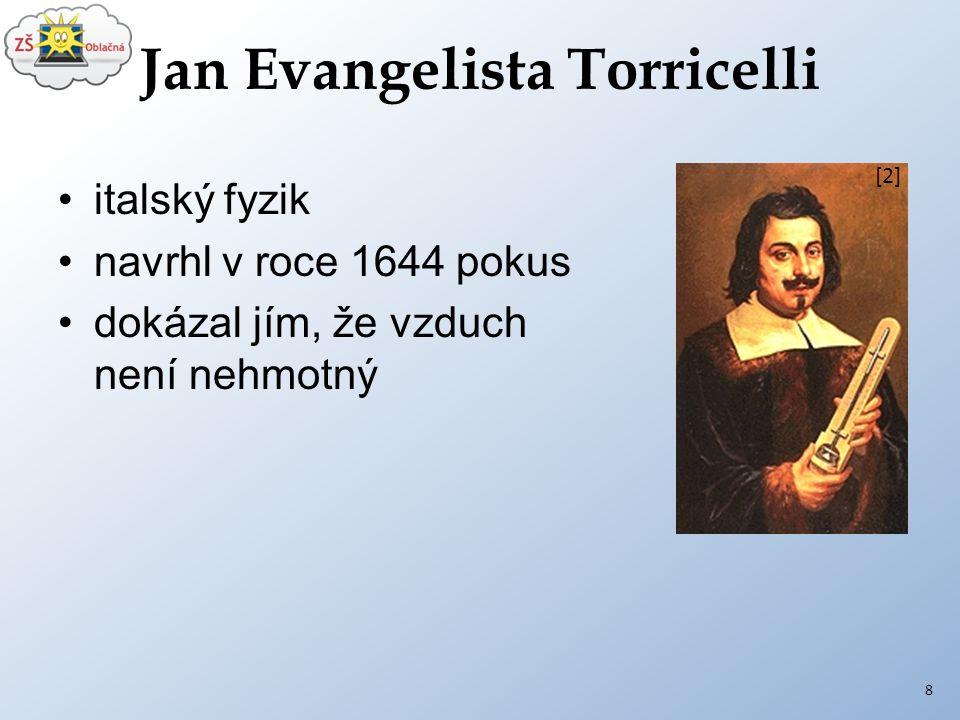 Jan Evangelista Torricelli italský fyzik navrhl v roce 1644 pokus dokázal jím, že vzduch není nehmotný 8 [2]