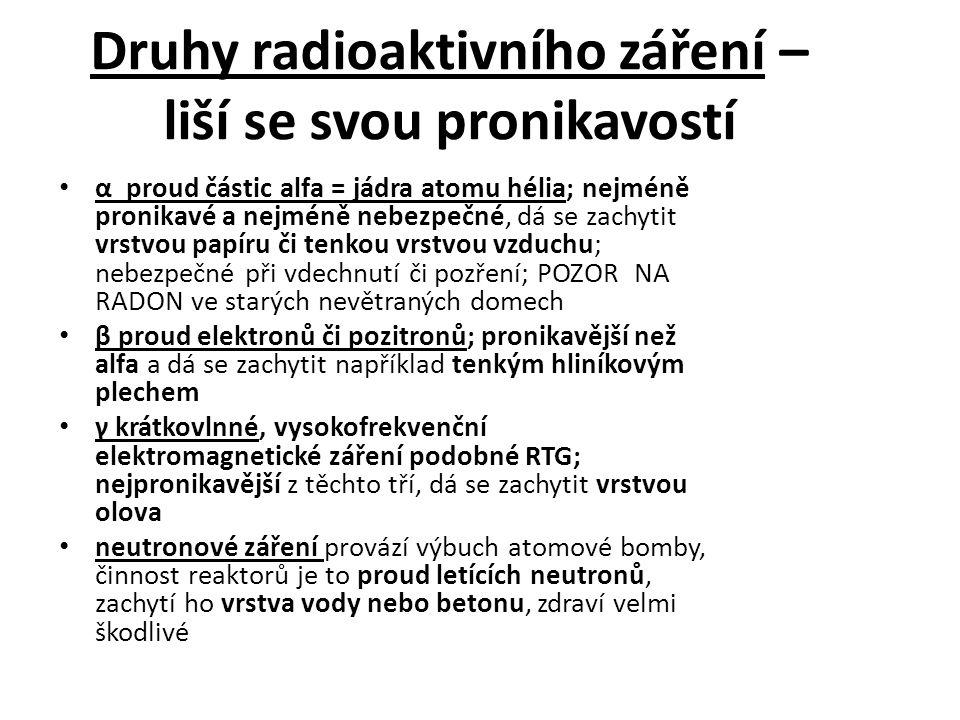 Druhy radioaktivního záření – liší se svou pronikavostí α proud částic alfa = jádra atomu hélia; nejméně pronikavé a nejméně nebezpečné, dá se zachyti