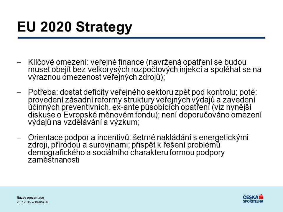 29.7.2015 – strana 20 Název prezentace EU 2020 Strategy –Klíčové omezení: veřejné finance (navržená opatření se budou muset obejít bez velkorysých rozpočtových injekcí a spoléhat se na výraznou omezenost veřejných zdrojů); –Potřeba: dostat deficity veřejného sektoru zpět pod kontrolu; poté: provedení zásadní reformy struktury veřejných výdajů a zavedení účinných preventivních, ex-ante působících opatření (viz nynější diskuse o Evropské měnovém fondu); není doporučováno omezení výdajů na vzdělávání a výzkum; –Orientace podpor a incentivů: šetrné nakládání s energetickými zdroji, přírodou a surovinami; přispět k řešení problémů demografického a sociálního charakteru formou podpory zaměstnanosti