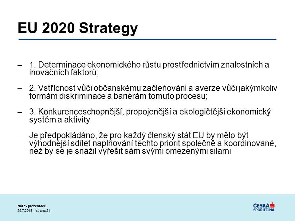29.7.2015 – strana 21 Název prezentace EU 2020 Strategy –1.