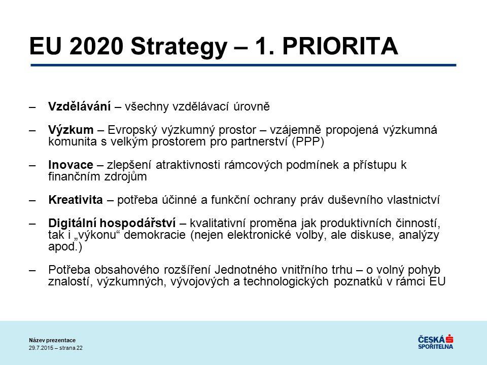29.7.2015 – strana 22 Název prezentace EU 2020 Strategy – 1.