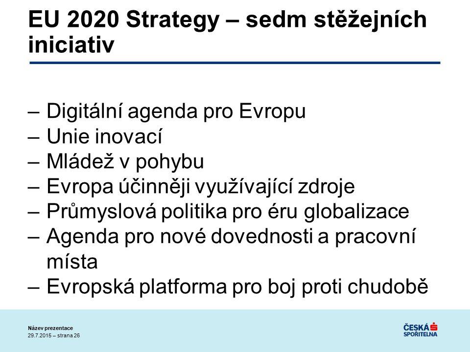 29.7.2015 – strana 26 Název prezentace EU 2020 Strategy – sedm stěžejních iniciativ –Digitální agenda pro Evropu –Unie inovací –Mládež v pohybu –Evropa účinněji využívající zdroje –Průmyslová politika pro éru globalizace –Agenda pro nové dovednosti a pracovní místa –Evropská platforma pro boj proti chudobě