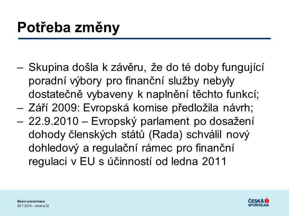 29.7.2015 – strana 32 Název prezentace Potřeba změny –Skupina došla k závěru, že do té doby fungující poradní výbory pro finanční služby nebyly dostatečně vybaveny k naplnění těchto funkcí; –Září 2009: Evropská komise předložila návrh; –22.9.2010 – Evropský parlament po dosažení dohody členských států (Rada) schválil nový dohledový a regulační rámec pro finanční regulaci v EU s účinností od ledna 2011
