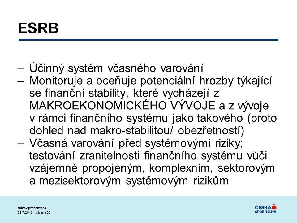 29.7.2015 – strana 35 Název prezentace ESRB –Účinný systém včasného varování –Monitoruje a oceňuje potenciální hrozby týkající se finanční stability, které vycházejí z MAKROEKONOMICKÉHO VÝVOJE a z vývoje v rámci finančního systému jako takového (proto dohled nad makro-stabilitou/ obezřetností) –Včasná varování před systémovými riziky; testování zranitelnosti finančního systému vůči vzájemně propojeným, komplexním, sektorovým a mezisektorovým systémovým rizikům