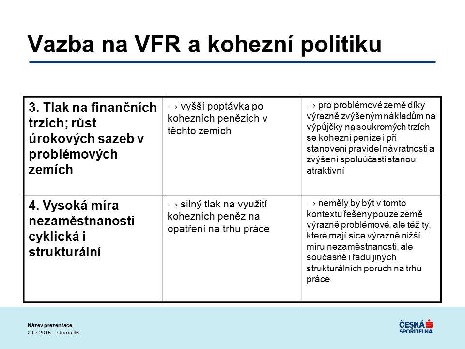 29.7.2015 – strana 46 Název prezentace Vazba na VFR a kohezní politiku 3.