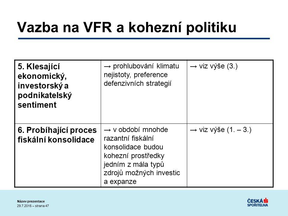 29.7.2015 – strana 47 Název prezentace Vazba na VFR a kohezní politiku 5.