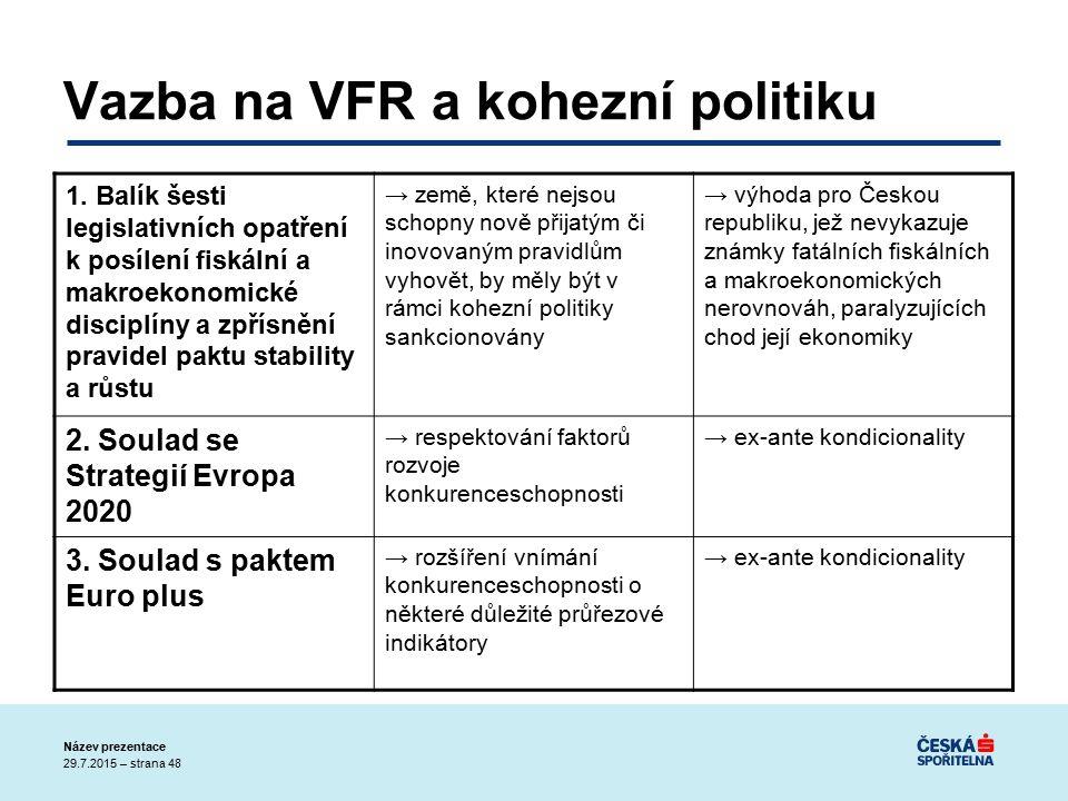 29.7.2015 – strana 48 Název prezentace Vazba na VFR a kohezní politiku 1.
