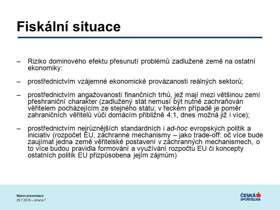 29.7.2015 – strana 28 Název prezentace European Economic Governance –Ucelený a koherentní balík zásadních reforem (30.6.2010); Evropský semestr hospodářsko-politické koordinace: posílení Paktu stability a růstu(silnější zaměření na dluh a udržitelnost; kontrola makroekonomických nerovnováh; včetně odlišností v konkurenceschopnosti, zajištění efektivní kontroly strukturálních reforem); –Evropská facilita pro finanční stabilitu (ESFS) – provizorium; Evropský stabilizační mechanismus (ESM) – trvalé řešení od poloviny roku 2012 –Sankční a incentivní rozměr (dotkne se i možností čerpání v rámci Kohezní politiky EU)