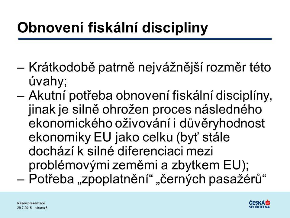 """29.7.2015 – strana 19 Název prezentace EU 2020 Strategy –Krize nejen zkomplikovala ekonomickou výkonnost EU, výrazně zvýšila nezaměstnanost a bezprecedentně zhoršila vývoj veřejných financí, ale současně přinesla řadu nových témat, potenciálně využitelných i pro zacílení budoucí Kohezní politiky EU po roce 2013; –""""New approach – nový přístup; překonávání ekonomické krize vnímáno jako příležitost naplňování nových rozvojových výzev EU – silnější naplnění znalostního potenciálu; silněji respektovat pohled ochrany životního prostředí a ekologie; –Klíčová slova: znalosti, inovace, šetrné a efektivní využívání přírodních zdrojů; –Očekávané efekty a dopady: především tvorba nových pracovních míst, využití intenzivních faktorů růstu před mnohdy stále dominujícími extenzivními; –Rizika nenaplnění: setrvale nízký růst a stagnace, kdy by ekonomika EU dále ztratila krok jak vůči USA (z pohledu vyspělosti), tak i Číně a dalším asijským, teritoriím (z pohledu dynamiky); –Strategie priorit: pozornost hospodářsko-politických nástrojů a opatření by neměla být rozmělňována do nepřehledného množství podporovaných oblastí, ale zaměřena na nevelký počet těch, jež mají reálnou šanci přinést nejlepší výsledky; úsilí o efektivní symbiózu nástrojů a opatření na národní a unijní úrovni"""