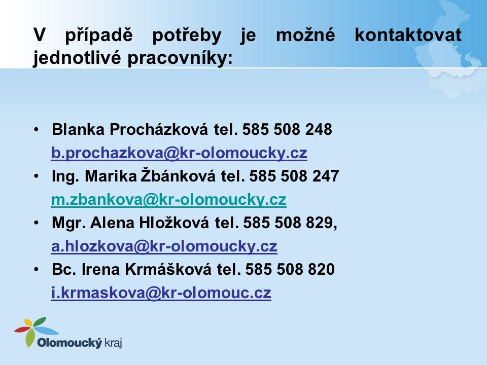 V případě potřeby je možné kontaktovat jednotlivé pracovníky: Blanka Procházková tel.