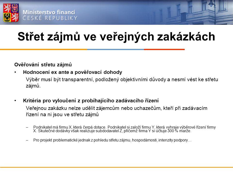 Střet zájmů ve veřejných zakázkách Ověřování střetu zájmů Hodnocení ex ante a pověřovací dohody Výběr musí být transparentní, podložený objektivními d