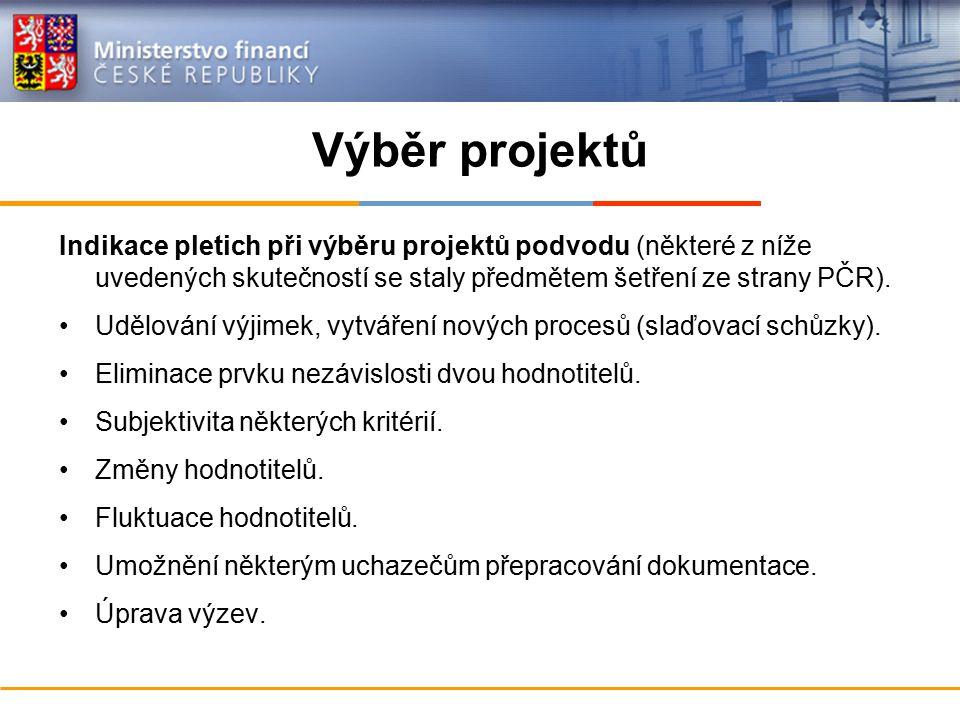 Výběr projektů Indikace pletich při výběru projektů podvodu (některé z níže uvedených skutečností se staly předmětem šetření ze strany PČR). Udělování